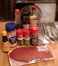 Ingredients for Homemade Jerky Marinade Sauce Beef Jerky Marinade, Marinade Sauce, Beef Jerkey, Soy Sauce, Jerkey Recipes, Homemade Beef Jerky, Making Jerky, Deer Recipes, Venison Recipes