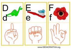 Flash Cards Letras do Alfabeto Libras Kids Rugs, Cards, Clip Art, Printable Alphabet, Childish Behavior, Sign Language, Reading Activities, Princesses, Autism