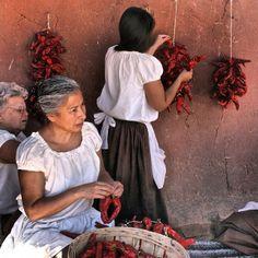Preparing the Chiles -El Rancho de las Golondrinas, Outside Santa Fe, New Mexico