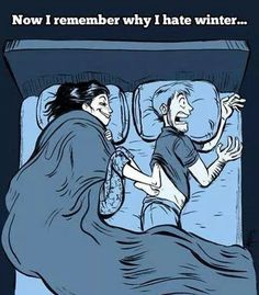 Why Your Spouse Always Has Cold Feet Does the temperature of your bedroom plummet when your partner crawls under the bed sheets? When their icy cold feet touch yours, do you scream? Sometimes, always-cold feet aren't attributable to a. I Smile, Make Me Smile, Funny Quotes, Funny Memes, It's Funny, Funny Cartoons, Clumsy Quotes, Cartoon Humor, Quotes Pics