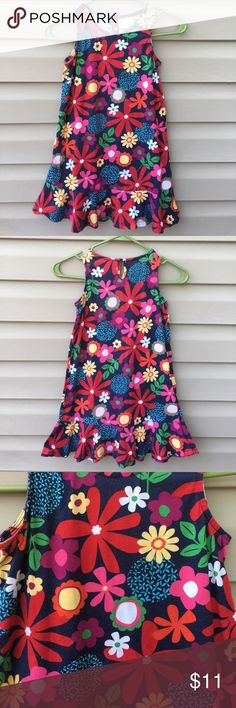 Hanna Andersson girls navy sleeveless dress Nice navy dress with multi colored flower print, ruffle at hem , 100% cotton, no stains or holes Hanna Andersson Dresses Casual
