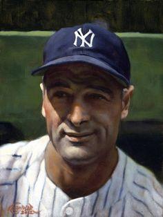 """Lou Gehrig, 1928, 9"""" x 12"""" by Craig Kreindler"""