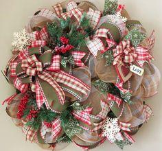 Winter Valentine Deco Mesh Wreath,