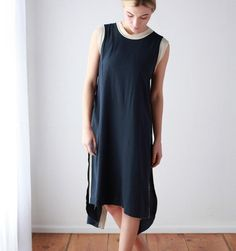 7115 by Szeki for Mavenhaus Collective Contrast Frayed Edge Dress in Navy with Cream Trim - Mavenhaus Collective