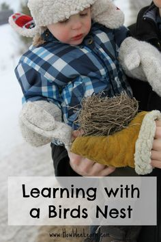 Exploring a birds nest! What a great nature activity for preschoolers and kids.  So much learning to be had outside or in.  This post has great tips and information on how birds build their nests too.