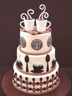 Starbucks Cake! Cute!! Only it can be just a coffee theme. Not necessarily 'Starbucks'.