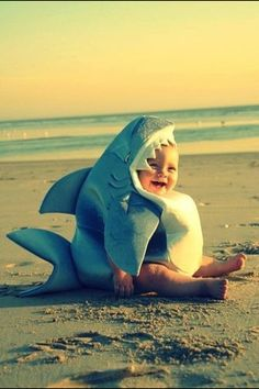 Baby in shark costume