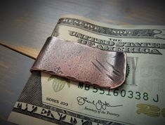 Handmade Copper Money Clip Hammered Distressed Billfold Patina Antique Personalised Men's Gift Dad H