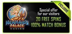 20 Free Spins and a 100% Macth Bonus at Mermaids Palace!
