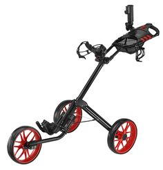 The unique quad fold mechanism system on this great value deluxe golf push cart by CaddyTek allows you to fold your cart into a compact size in just 3 simple steps!