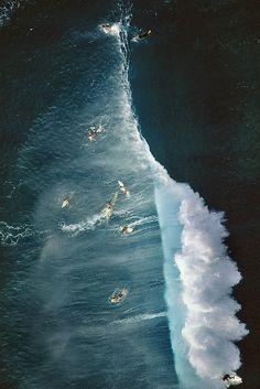 Aerial shot Pipeline / surf California