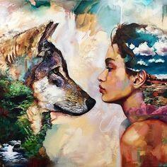 @dimitramilan #dimitramilanart #art #colour #wolf #beauty #woman #profile #innerbeauty #artist #wow #landscape #animal #spiritanimal #wolves