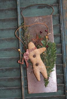 Primitive Christmas Gingerbread Man by stitchintimepatterns, $15.95