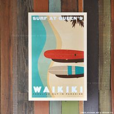 """Waikiki - """"Surf at Queen's"""" Retro Hawaii Travel Print. Surf the famous Queen's Waikiki every day with artist Nick Kuchar's awesome retro style Hawaii Print. North Shore Oahu, Bicycle Print, Landscape Design Plans, California Surf, Learn To Surf, Landscaping With Rocks, Backyard Landscaping, Hawaii Travel, Hawaii Hawaii"""