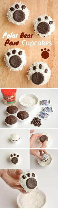 Get the recipe ♥ Polar Bear Paw Cupcakes #recipes