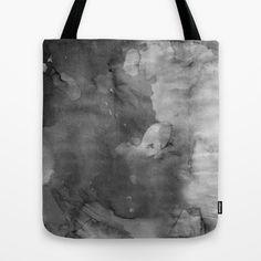 Black and smokey grey watercolor tote bag