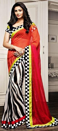 #Daisyshah shows how to wear check-board prints right. shop at flat 15% off + free shipping.  #saree #Bollywood