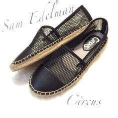Sam Edelman flats absolutely adorable❌ SOLD CIRCUS BY SAM EDELMAN LENA Made For: The trend setter Loved For: Their on trend mesh upper Best For: Adding a little bit of edge to a casual outfit Textile and synthetic upper with mesh panels Cap toe Lightly cushioned man-made insole Circus by Sam Edelman - Espadrille Flats: Sam Edelman Shoes Espadrilles