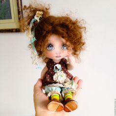 Купить Бусинка. Текстильная кукла - коричневый, шоколадный, морская волна, кукла ручной работы