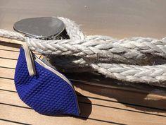 Cap Bag Blue I Rainy July, Original bathing cap repurposed into a small waterproof pouch