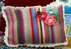 crochet patchwork cushion