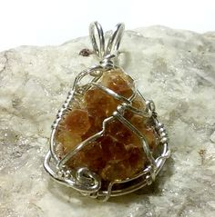 Citrine, rough crystal, wire wrapped with sterling silver round and half round wire.