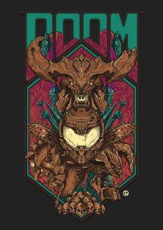 Doom Vintage Art Print by Tio Montague - X-Small Doom 4, Doom Game, King's Quest, Doom Demons, Goblin, Doom 2016, Slayer Meme, Video X, Gaming Wallpapers