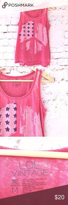 """LOL Vintage Pink Peace & Stars Tank Top LOL Vintage Pink Peace & Stars Tank Top.  Bust 18"""" x Length 26"""". LOL Vintage Tops Tank Tops"""