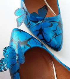 designer heels with red soles 0bgd  Blue Wedding Shoes Hand Painted Butterfly Wedding Shoes 3D Butterfly  Embellished Heels Unique Bridal Shoes Sparkly Butterfly Heels