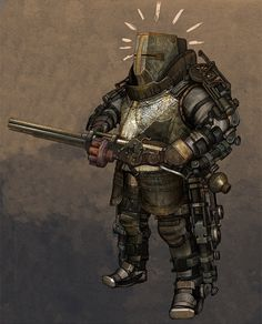Steampunk power armor with a large caliber repeating rifle/ grenade launcher.