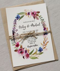 Boho Chic Wedding Invitation Floral Wedding by LoveofCreating