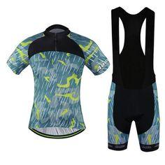 Men's Grey Short Sleeve Cycling Jersey Set #Cycling #CyclingGear #CyclingJersey #CyclingJerseySet