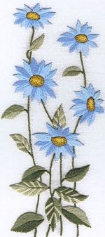Blue Daisies Embroidery Kit SUR02 (notice the different shades of blue)