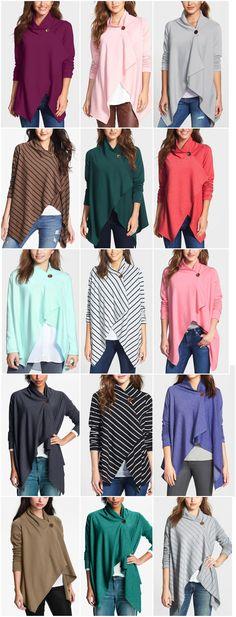 Asymmetrical Fleece Wrap Cardigans: I'll take one in each color, please!