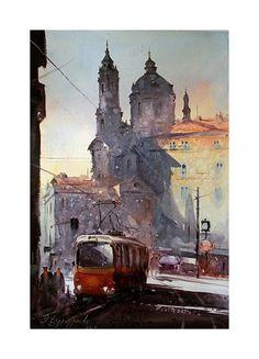 Dusan Djukaric - Watercolor Praque, 38x56 cm