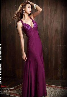 Hot Sexy Rhinestone Embellished Crossed Back Long Dress Purple i1035339