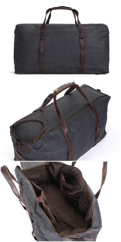 8d873c7309 Vintage military Canvas Leather men travel bags Carry on Luggage bags Men  Duffel bags travel tote large weekend Bag Overnight