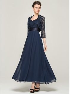 A-Line/Princess Sweetheart Ankle-Length Chiffon Charmeuse Lace Mother of the Bride Dress (008062564) - JJsHouse