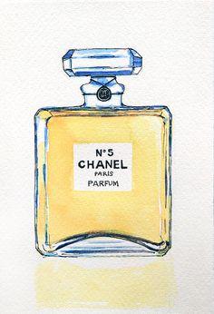 Original Chanel Perfume Watercolour Illustration - Chanel No5 Paris Parfum on Etsy, $34.86