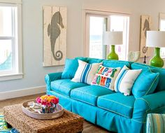 Happy Bright Blue and Green Beach Home