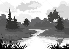 Landscape, Trees and River Silhouette  #GraphicRiver