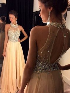 Kikiprom are the best places for you to buy affordable 2016 high neck prom dresses a line chiffon with beading sep train. We offer cheap yet elegant 2016 high neck prom dresses a line chiffon with beading sep train for petites and plus sized women. Open Back Prom Dresses, Prom Dresses 2016, A Line Prom Dresses, Grad Dresses, Formal Dresses, Prom Gowns, Dresses Dresses, Chiffon Dresses, Long Dresses