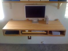 DIY Floating Desk Of Two IKEA's Countertops | Shelterness
