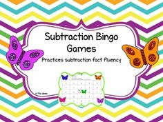 These bingo games are a fun, hands-on activity that engages students as they practice addition fact fluency.  These games can easily be used in small group instruction, math centers, as a supplemental to your math curriculum, as a fast finisher activity, or to differentiate your instruction.This product contains 23 fun games that practices subtraction fact fluency. Each bingo game practices a different type of subtraction fact.