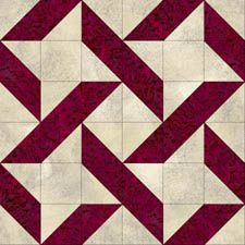 Ribbon Quilt - free pattern download - looks like this could be less complicated than it looks - break it down to plain squares & ones made from triangles
