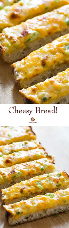 Cheesy Bread ~ A cross between garlic bread and pizza, cheesy bread is a quick, easy, and delicious party snack. ~ SimplyRecipes.com