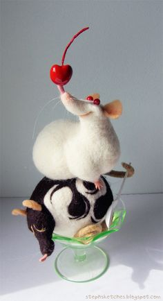 Illustration art cute crafts artists rats rat wool needle felt soft sculpture fiber art needle felting
