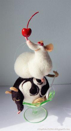 Illustration art cute crafts artists rats rat wool needle felt soft sculpture fiber art needle felting