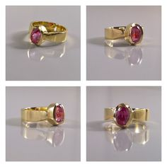 18K yellow gold and faceted Pink Sapphire ring