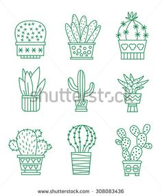 Quirky Cactus Hand Embroidery Pattern PDF Download  Hand